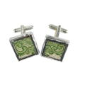 Green scrolled Vintage China Cufflinks