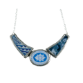 Blue and white collar necklace